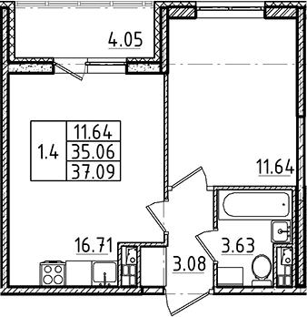 2Е-комнатная, 35.06 м²– 2