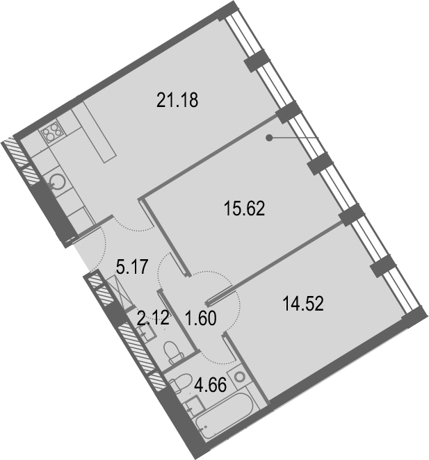 3Е-комнатная квартира, 64.91 м², 12 этаж – Планировка