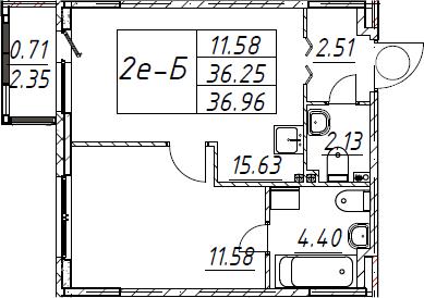 2Е-к.кв, 36.96 м²