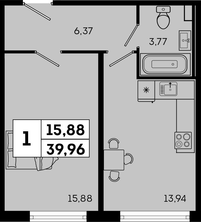 1-к.кв, 39.96 м²