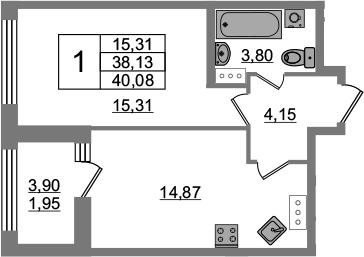 1-комнатная, 38.13 м²– 2