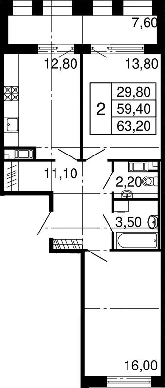 2-комнатная, 59.4 м²– 2