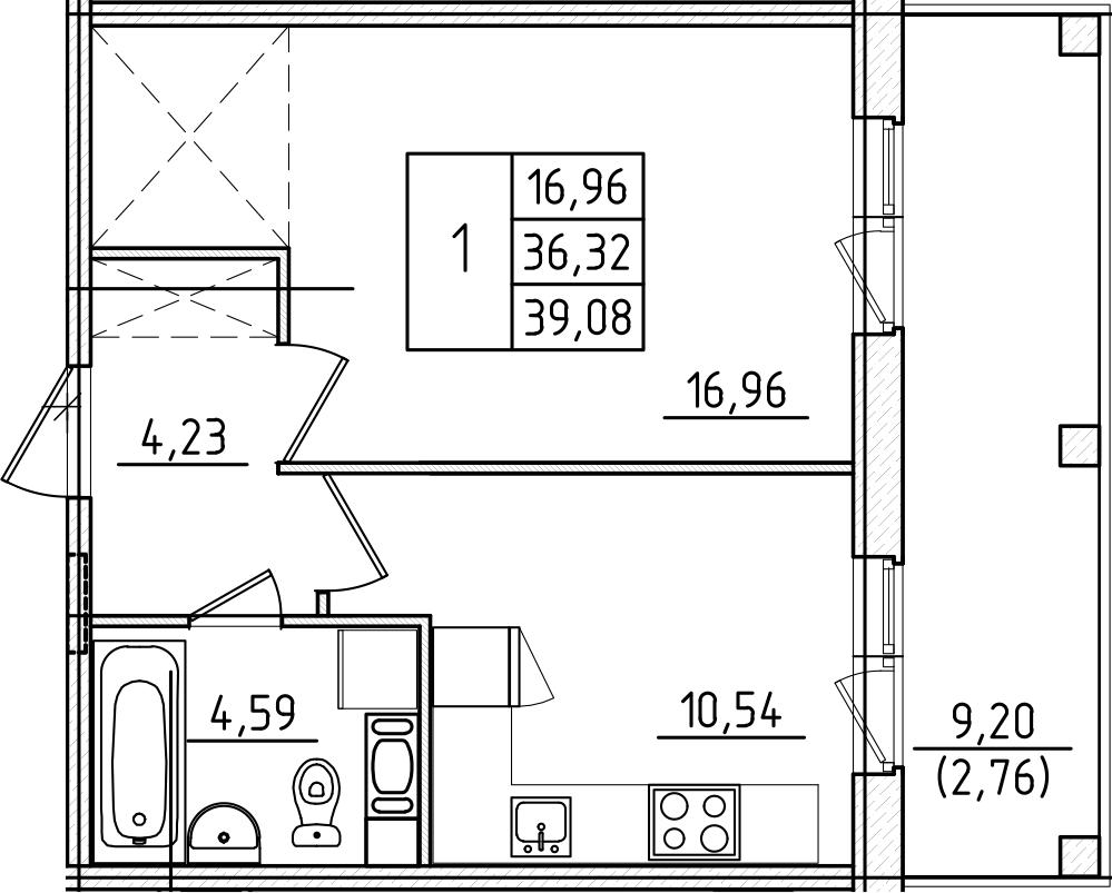 1-к.кв, 39.08 м², от 8 этажа
