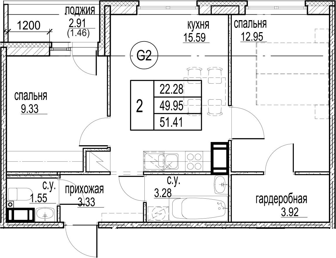 2-к.кв, 52.87 м²