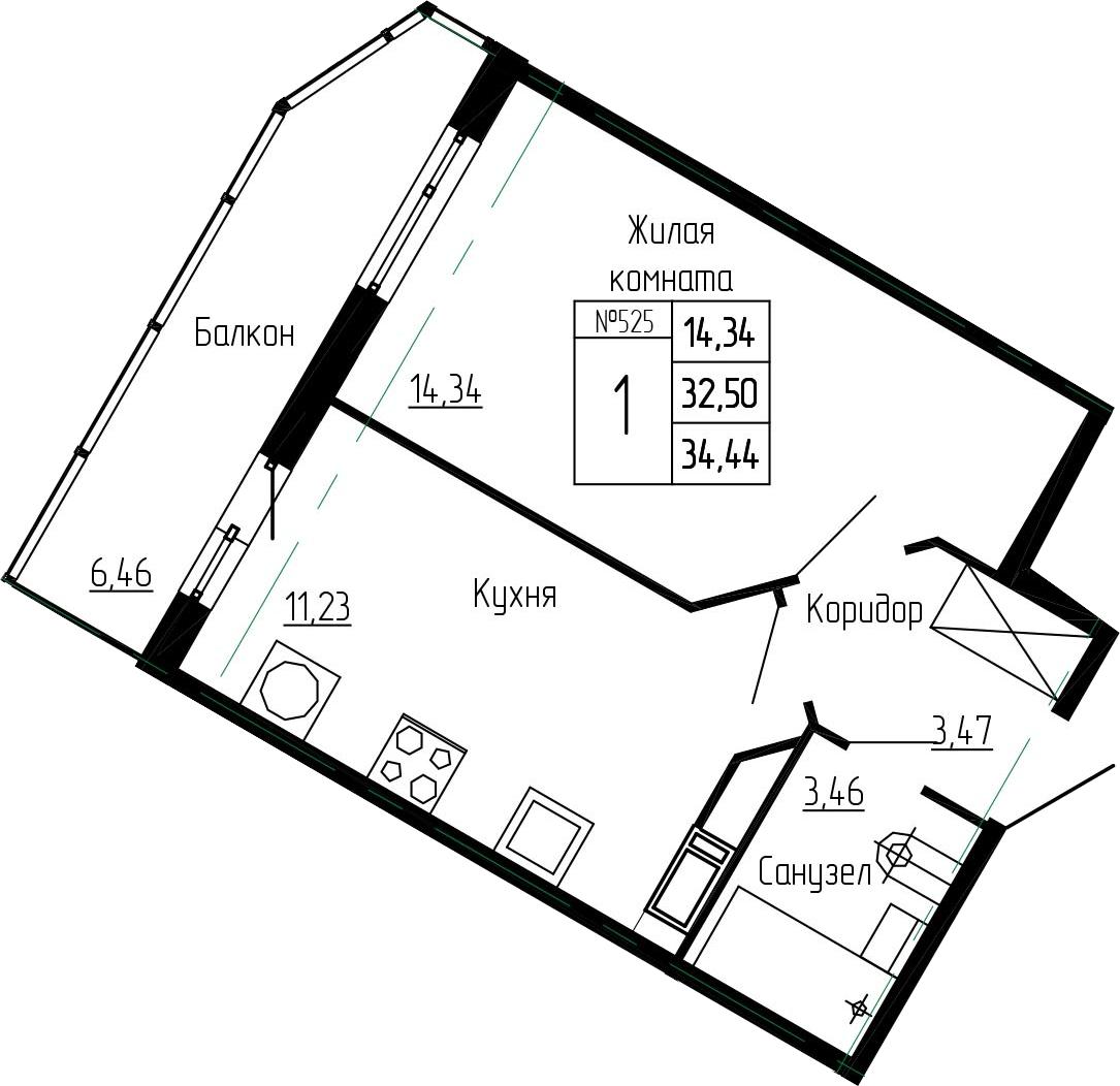 1-к.кв, 38.96 м²