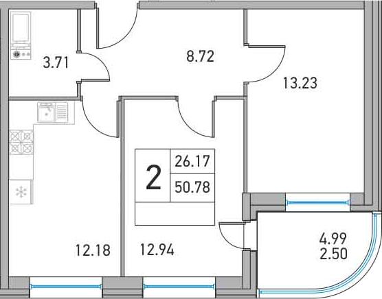 2-к.кв, 55.77 м²