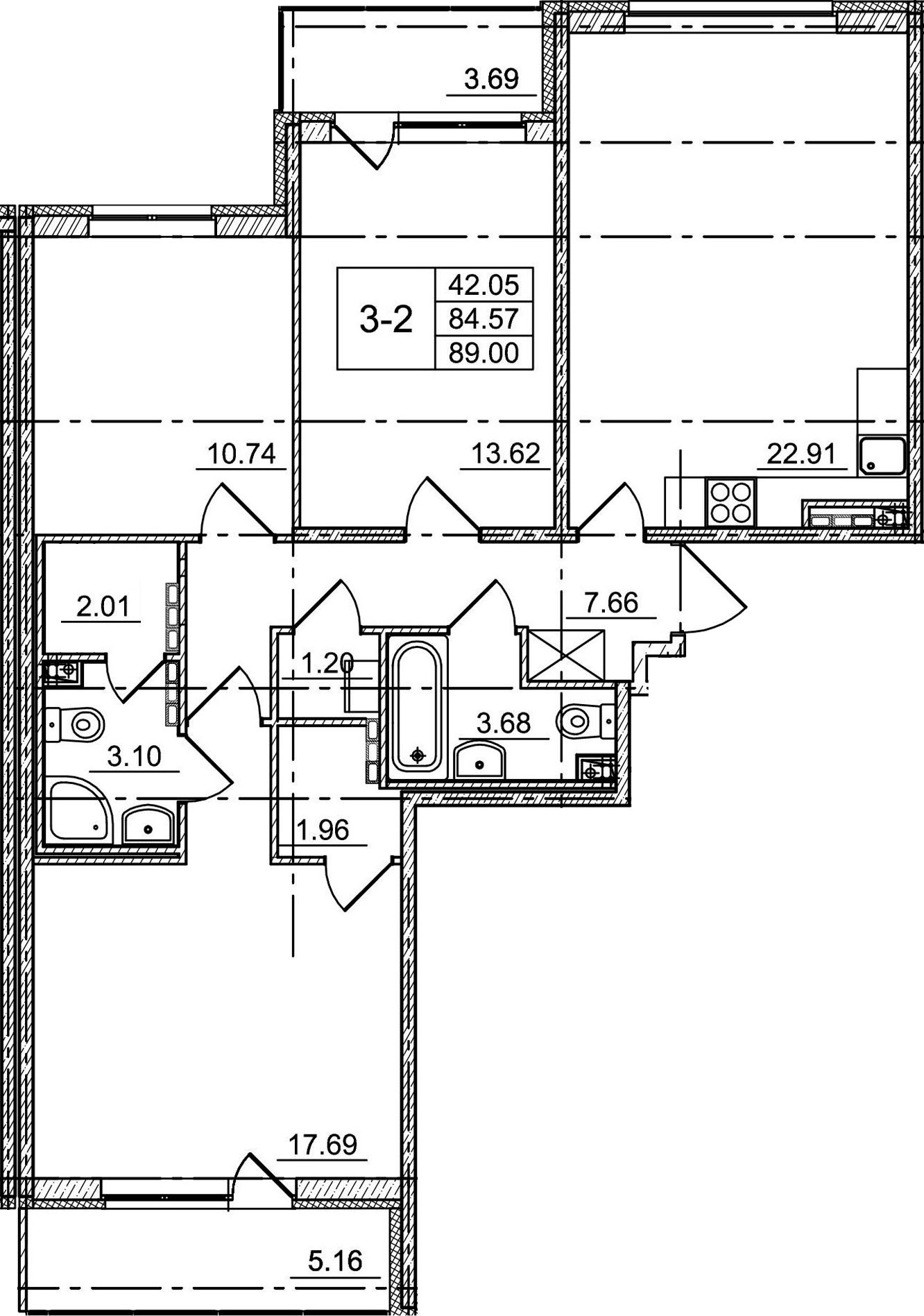 4Е-комнатная, 84.57 м²– 2