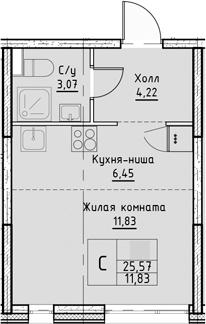 Студия, 25.57 м²