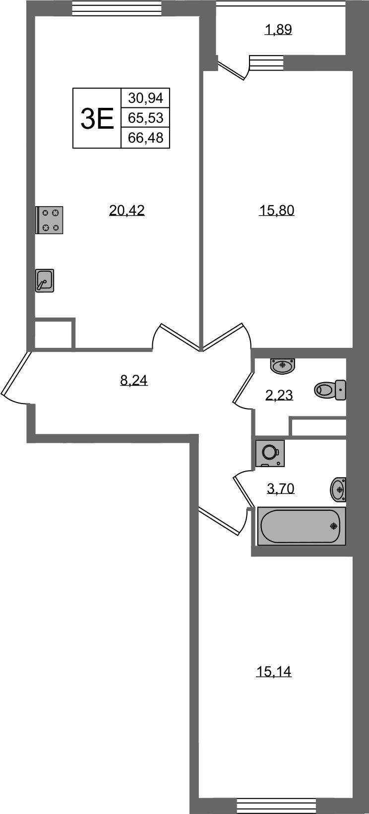 3-к.кв (евро), 67.42 м²