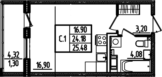 Студия, 28.51 м²