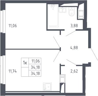 1-к.кв, 34.18 м²