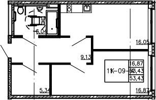 2Е-комнатная, 53.43 м²– 2