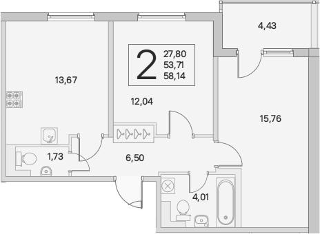 2-комнатная, 58.14 м²– 2