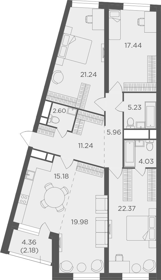 4Е-к.кв, 127.45 м², от 22 этажа