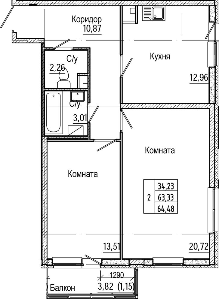 2-комнатная, 64.48 м²– 2