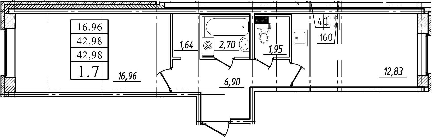 1-к.кв, 42.98 м², 1 этаж