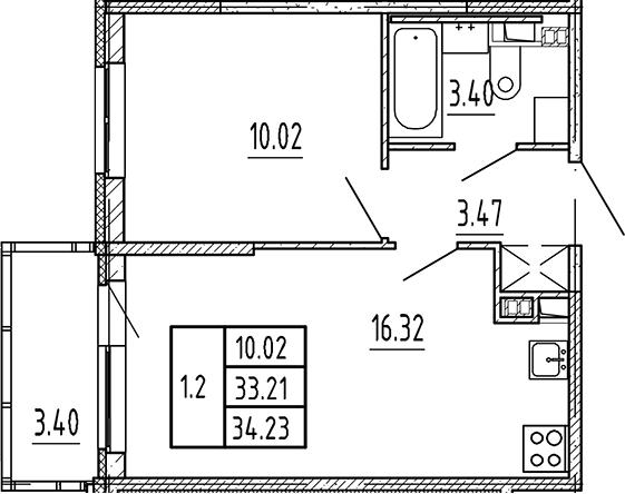 2Е-к.кв, 33.21 м², 4 этаж