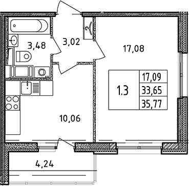 1-к.кв, 33.65 м², 16 этаж