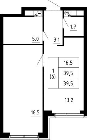 1-к.кв, 39.5 м², 3 этаж