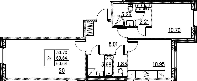 2-комнатная, 60.64 м²– 2