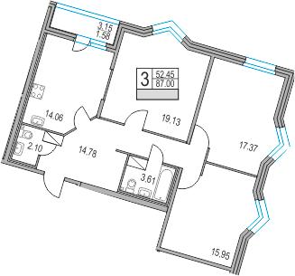 3-к.кв, 87 м²