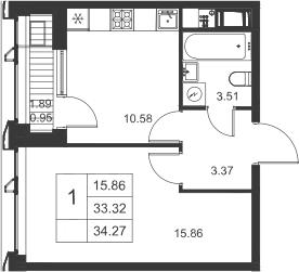 1-к.кв, 35.22 м²