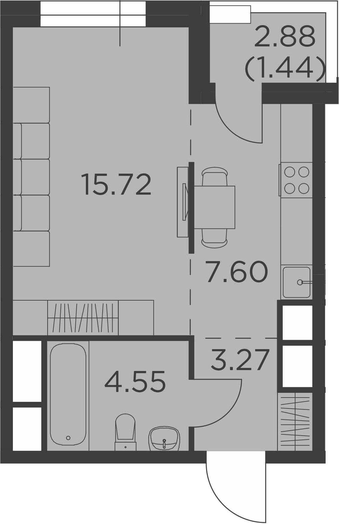 Студия, 32.58 м²– 2