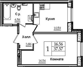 1-к.кв, 37.57 м²