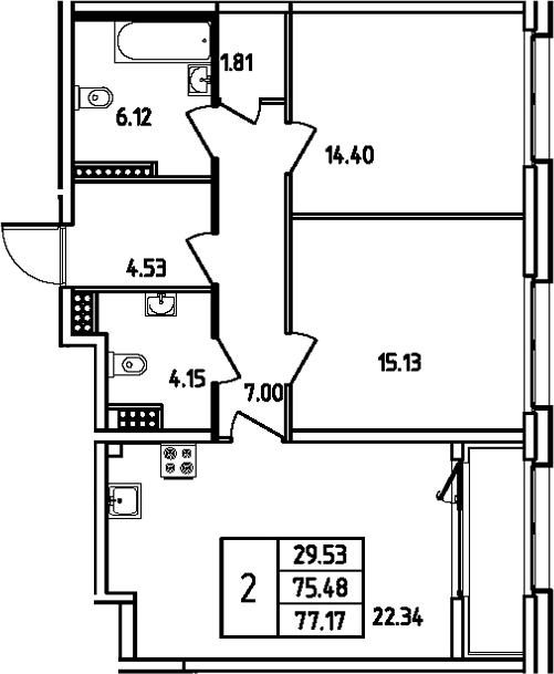 3Е-комнатная, 77.17 м²– 2
