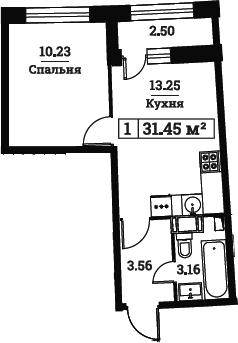 1-к.кв, 31.45 м², от 3 этажа