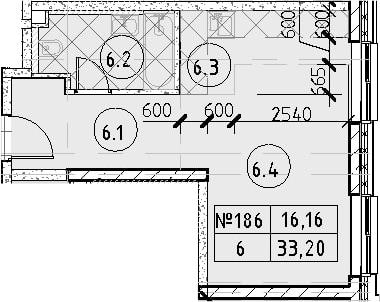 Студия, 33.2 м²– 2