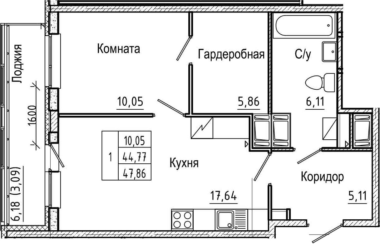 2Е-комнатная, 47.86 м²– 2