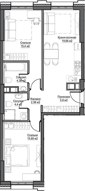 3Е-к.кв, 68.3 м²