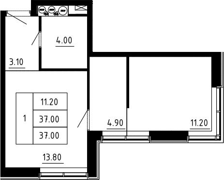 1-к.кв, 37 м², 10 этаж