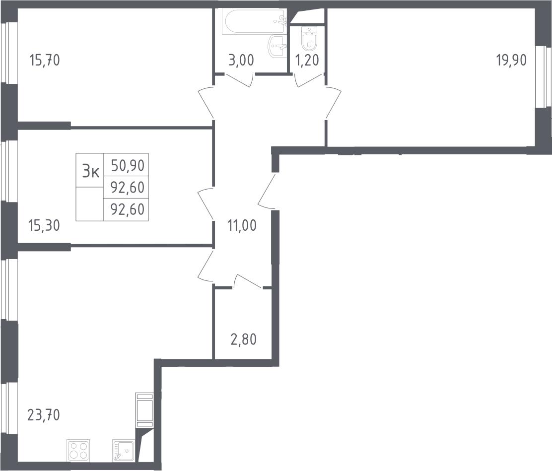 4-к.кв (евро), 92.6 м²