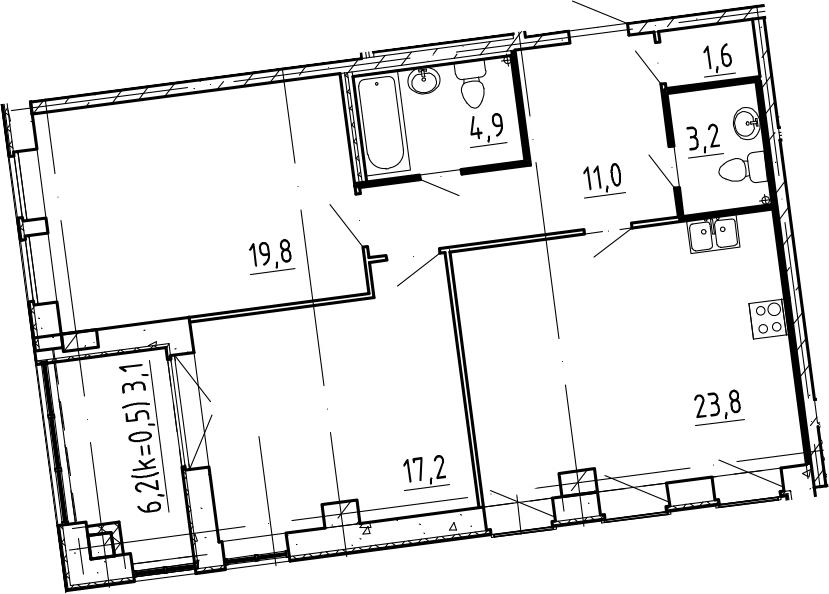 3-к.кв (евро), 87.7 м²
