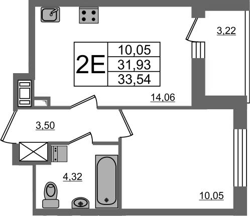 2Е-комнатная, 31.93 м²– 2