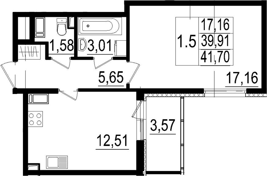1-комнатная, 39.91 м²– 2