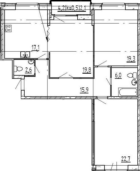 4Е-комнатная, 105.5 м²– 2