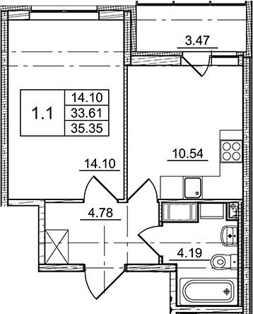 1-к.кв, 33.61 м²