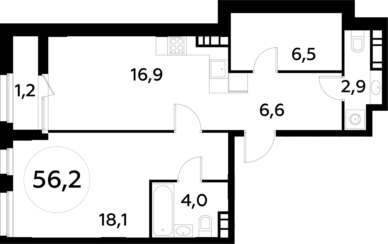 2-к.кв (евро), 59 м²