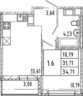 2Е-к.кв, 31.71 м², от 8 этажа