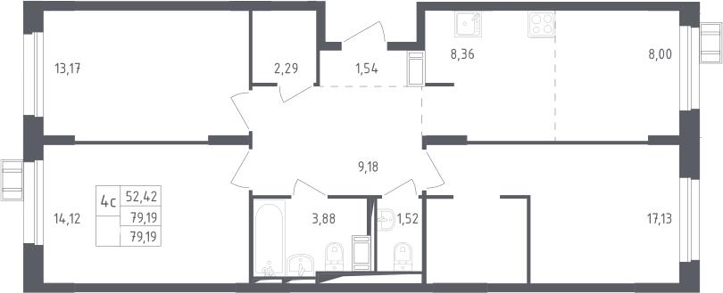 4Е-комнатная, 79.19 м²– 2