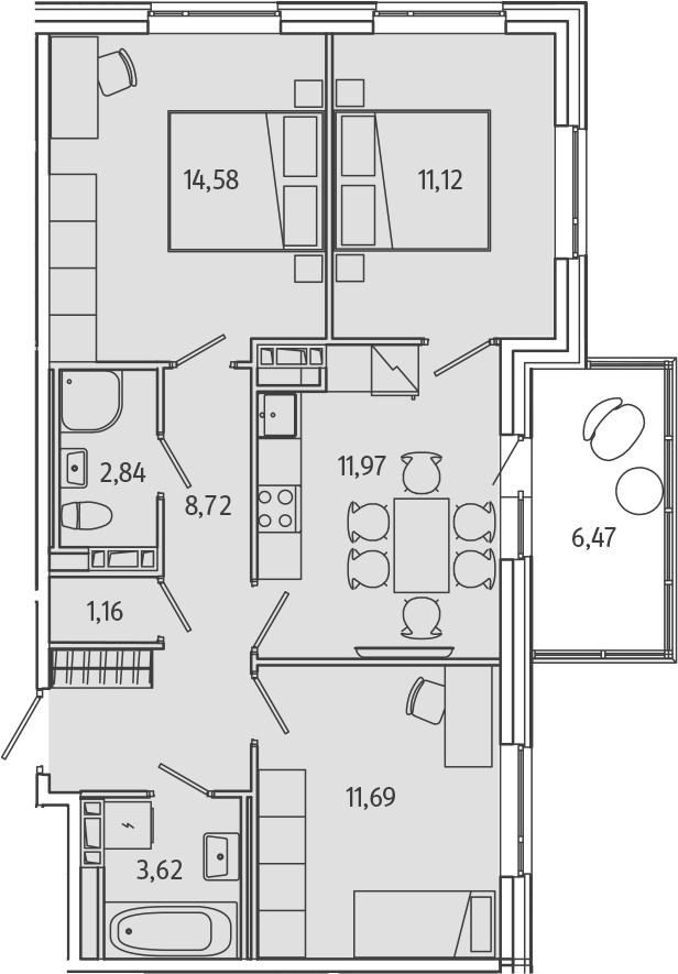 3-к.кв, 67.67 м²