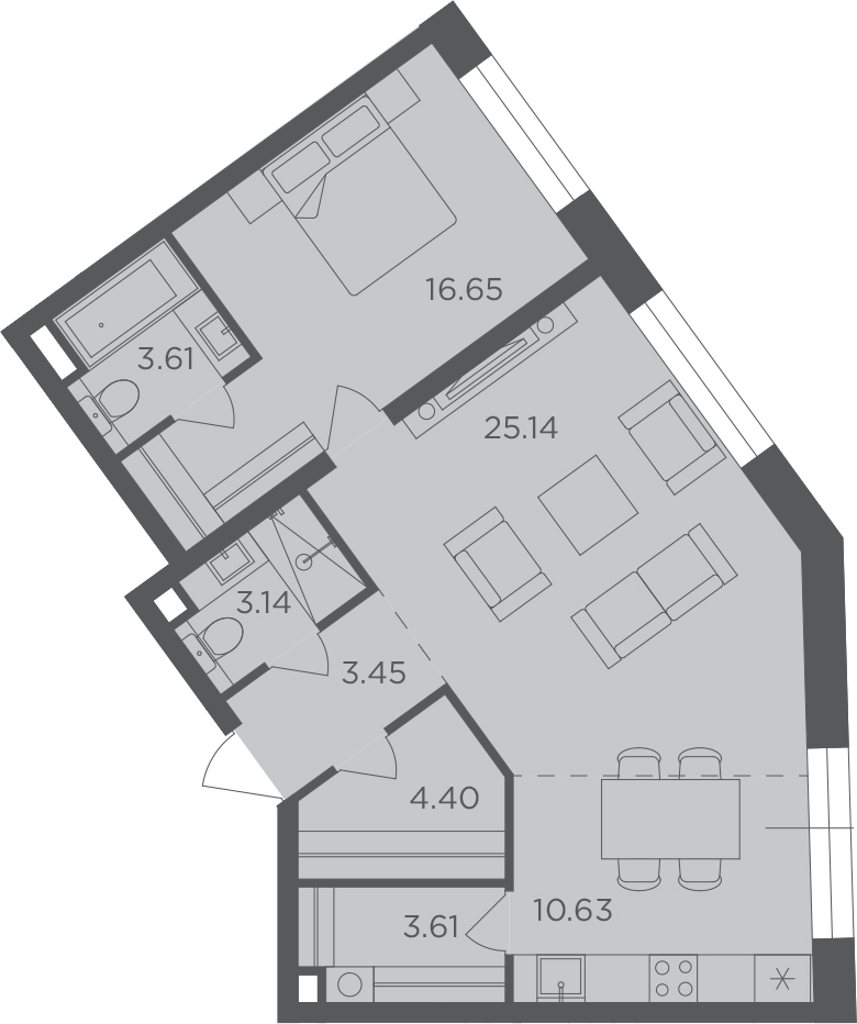2Е-комнатная, 70.63 м²– 2
