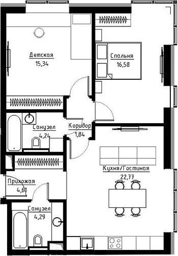 3Е-к.кв, 67.8 м²