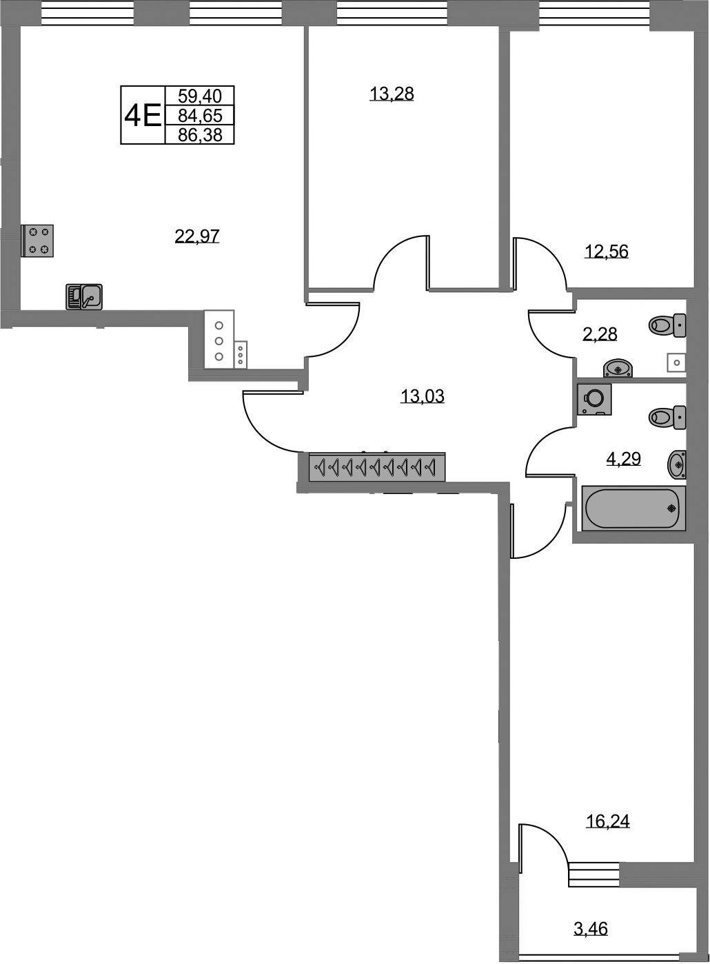 4-к.кв (евро), 88.11 м²