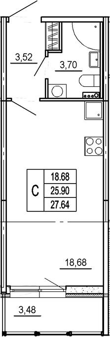 Студия, 29.38 м²