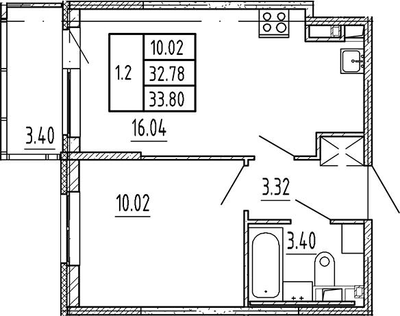 2Е-комнатная, 32.78 м²– 2