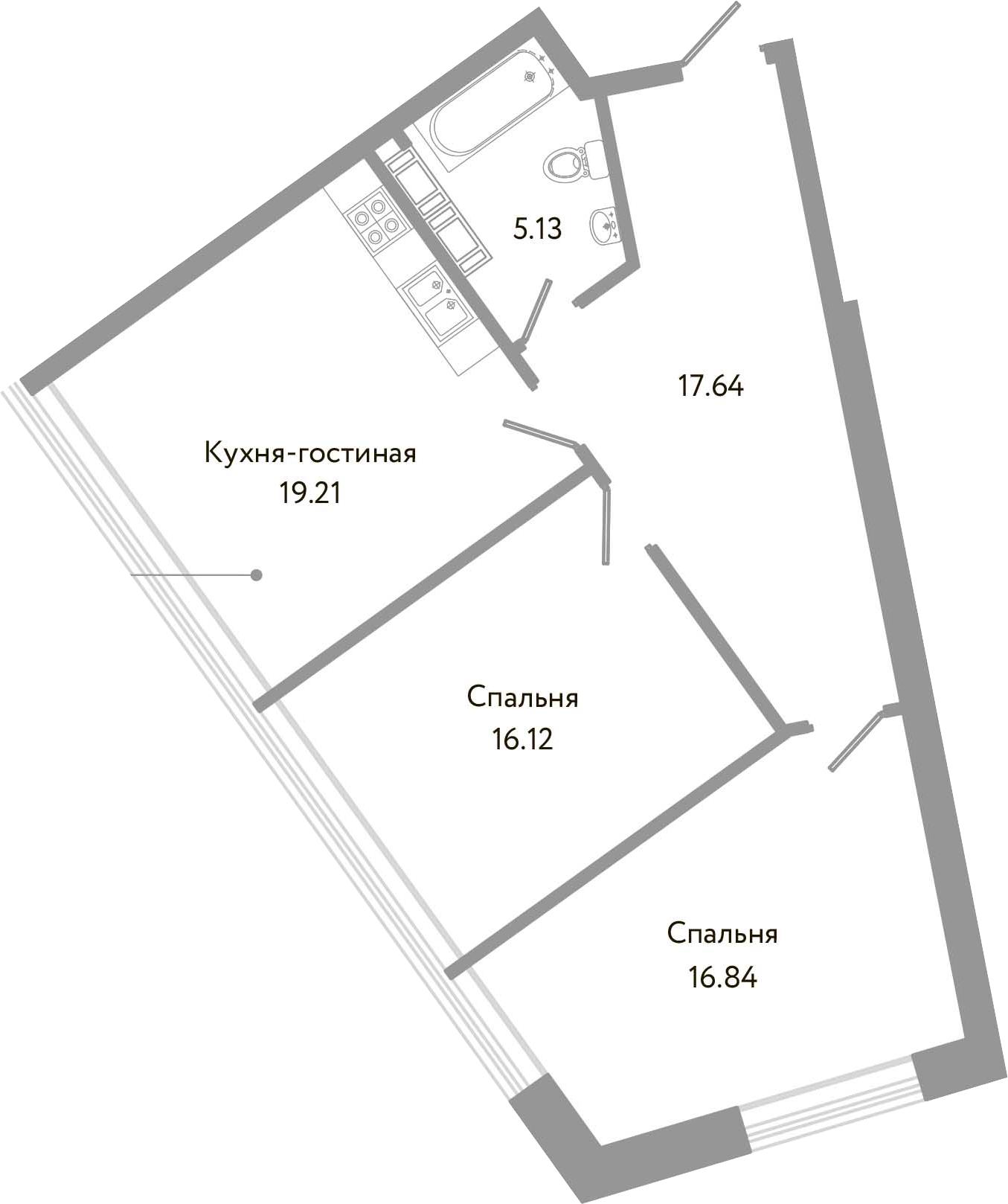 3-к.кв (евро), 74.94 м²